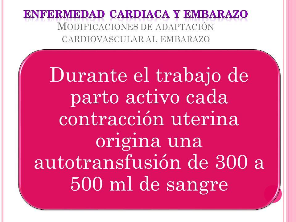 Durante el trabajo de parto activo cada contracción uterina origina una autotransfusión de 300 a 500 ml de sangre