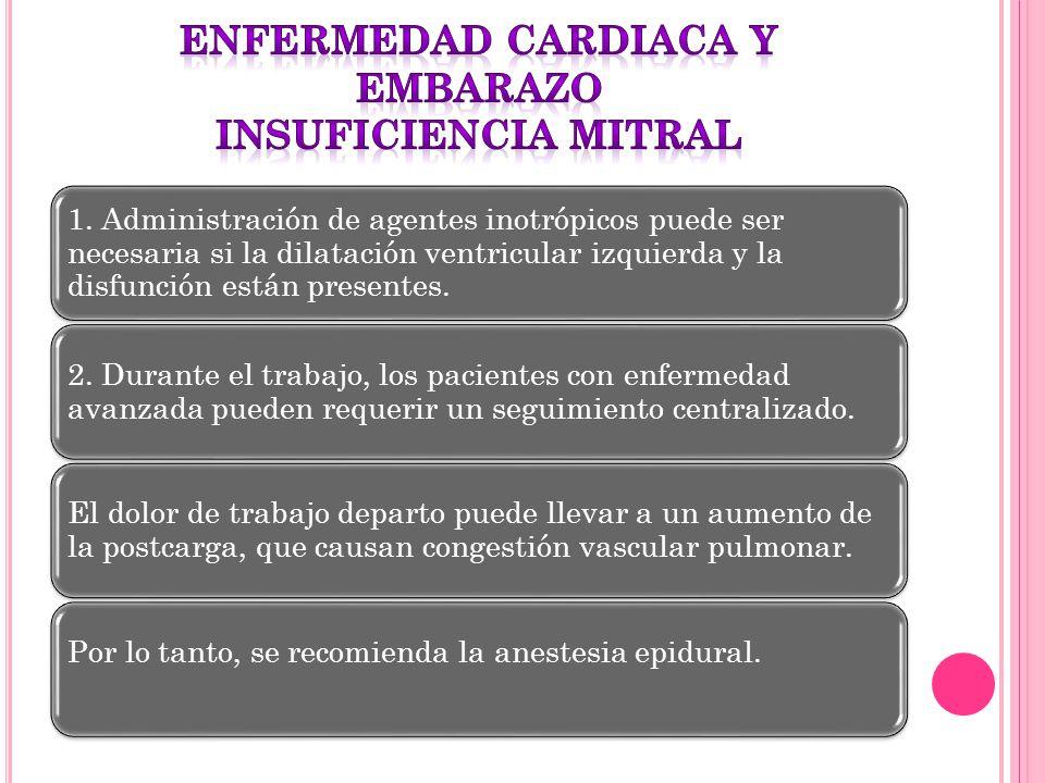 1. Administración de agentes inotrópicos puede ser necesaria si la dilatación ventricular izquierda y la disfunción están presentes. 2. Durante el tra