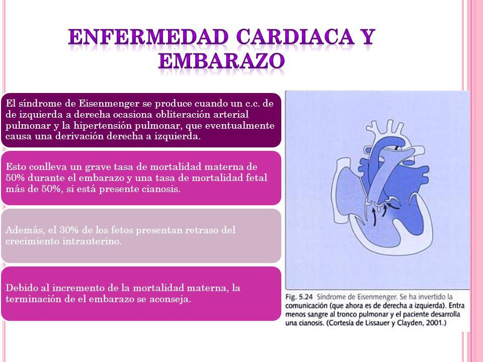 El síndrome de Eisenmenger se produce cuando un c.c. de de izquierda a derecha ocasiona obliteración arterial pulmonar y la hipertensión pulmonar, que