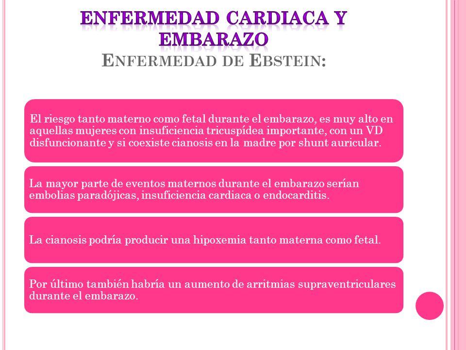 El riesgo tanto materno como fetal durante el embarazo, es muy alto en aquellas mujeres con insuficiencia tricuspídea importante, con un VD disfuncion