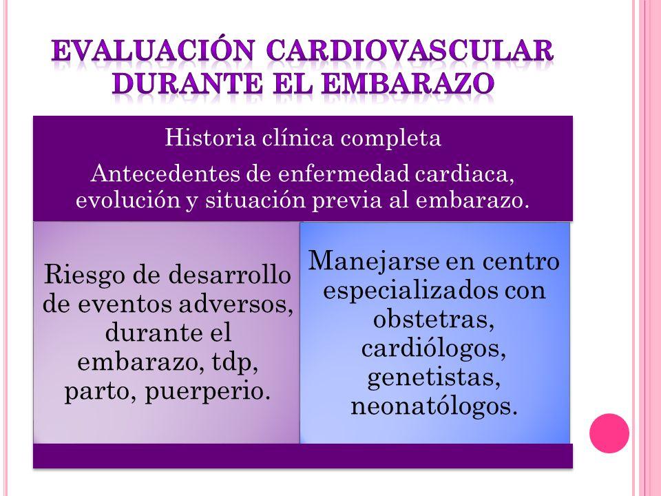 Historia clínica completa Antecedentes de enfermedad cardiaca, evolución y situación previa al embarazo. Riesgo de desarrollo de eventos adversos, dur