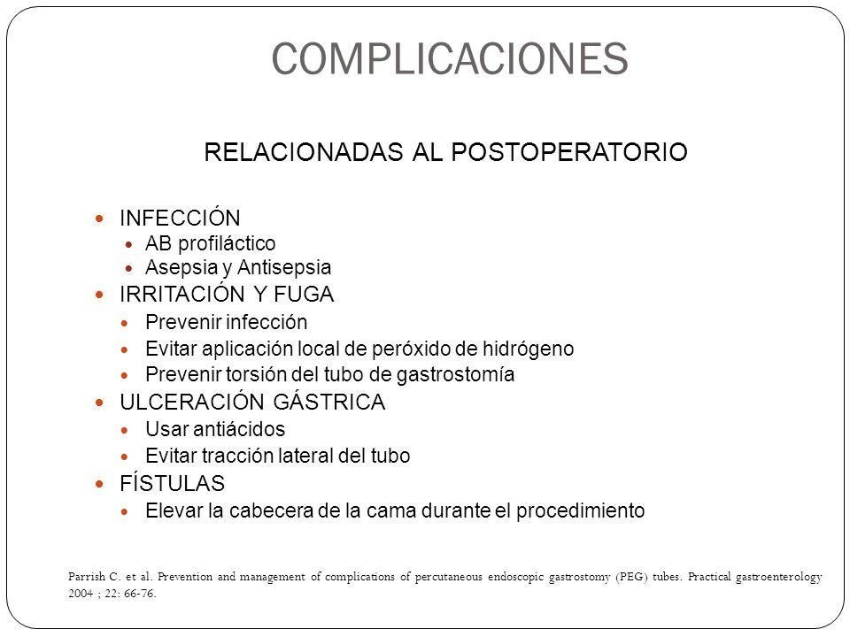 RELACIONADAS AL POSTOPERATORIO INFECCIÓN AB profiláctico Asepsia y Antisepsia IRRITACIÓN Y FUGA Prevenir infección Evitar aplicación local de peróxido