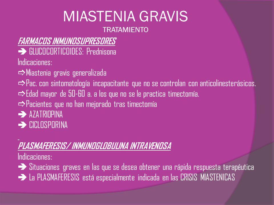 MIASTENIA GRAVIS TRATAMIENTO FARMACOS INMUNOSUPRESORES GLUCOCORTICOIDES: Prednisona Indicaciones: Miastenia gravis generalizada Pac. con sintomatologí
