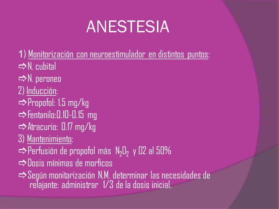 ANESTESIA 1 ) Monitorización con neuroestimulador en distintos puntos: N. cubital N. peroneo 2) Inducción: Propofol: 1.5 mg/kg Fentanilo:0.10-0.15 mg