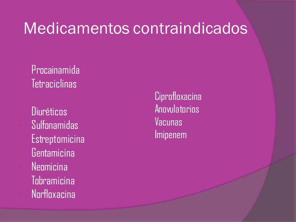 Medicamentos contraindicados Procainamida Tetraciclinas Diuréticos Sulfonamidas Estreptomicina Gentamicina Neomicina Tobramicina Norfloxacina Ciproflo