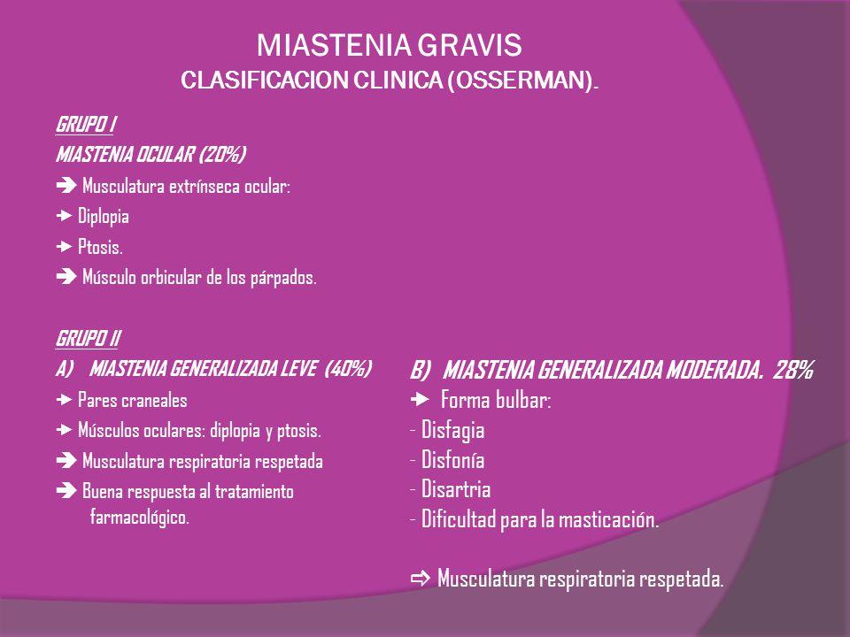 MIASTENIA GRAVIS CLASIFICACION CLINICA (OSSERMAN). GRUPO I MIASTENIA OCULAR (20%) Musculatura extrínseca ocular: Diplopia Ptosis. Músculo orbicular de