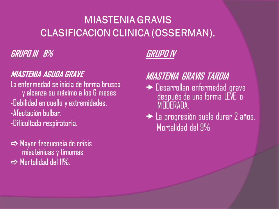 MIASTENIA GRAVIS CLASIFICACION CLINICA (OSSERMAN). GRUPO III 8% MIASTENIA AGUDA GRAVE La enfermedad se inicia de forma brusca y alcanza su máximo a lo