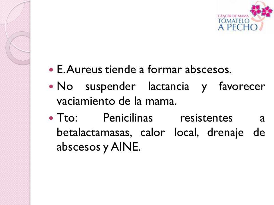 E. Aureus tiende a formar abscesos. No suspender lactancia y favorecer vaciamiento de la mama. Tto: Penicilinas resistentes a betalactamasas, calor lo