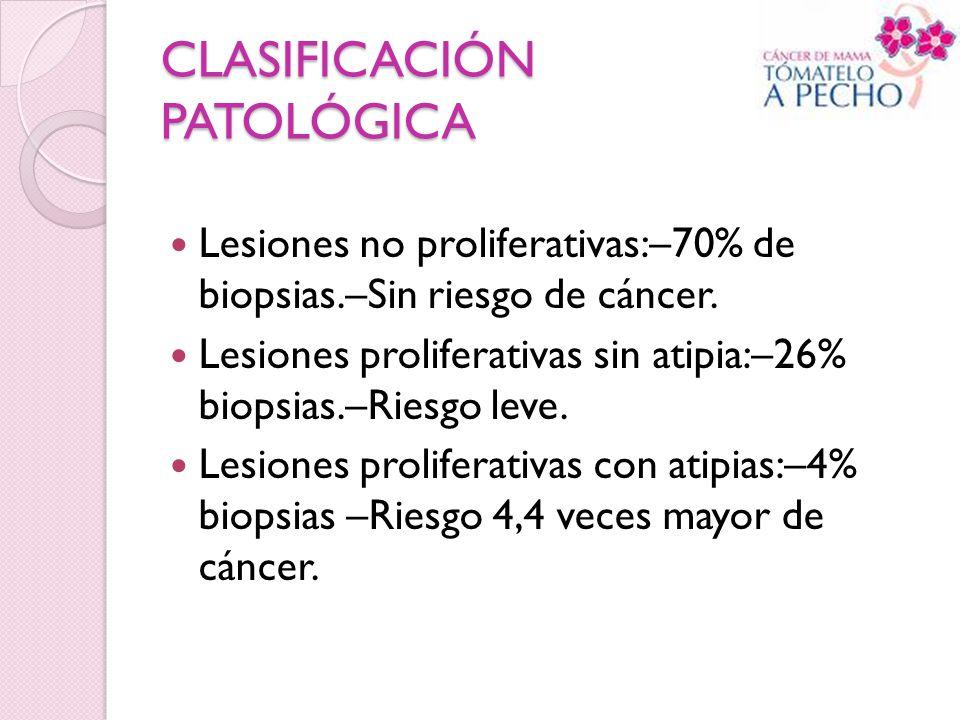 CLASIFICACIÓN PATOLÓGICA Lesiones no proliferativas:–70% de biopsias.–Sin riesgo de cáncer. Lesiones proliferativas sin atipia:–26% biopsias.–Riesgo l
