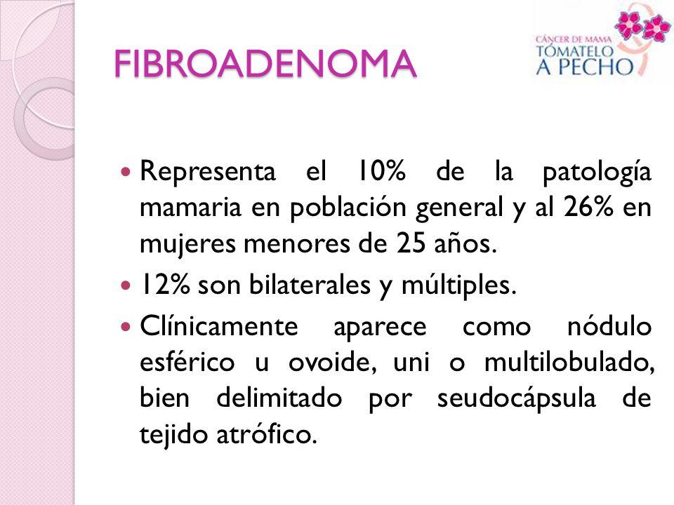 FIBROADENOMA Representa el 10% de la patología mamaria en población general y al 26% en mujeres menores de 25 años. 12% son bilaterales y múltiples. C