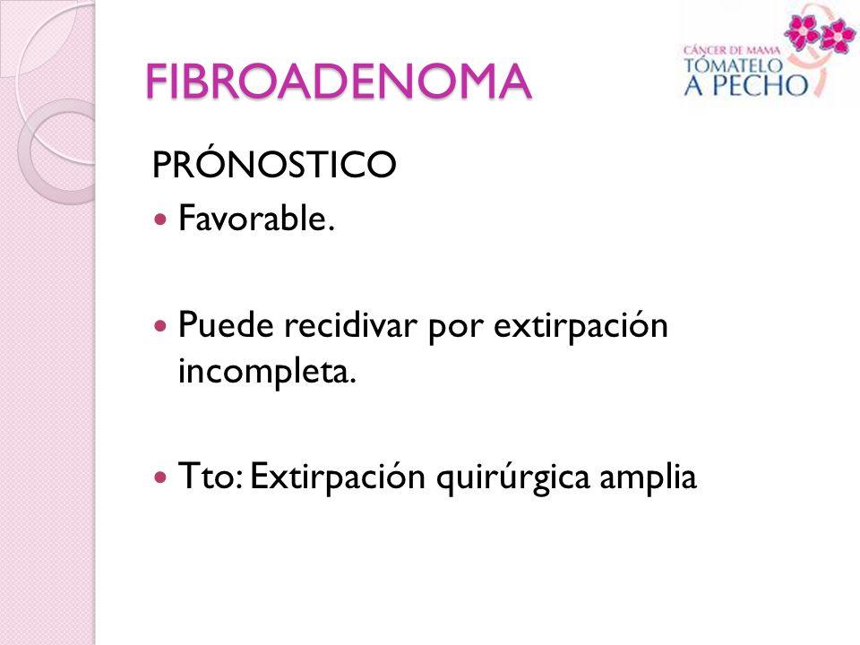 FIBROADENOMA PRÓNOSTICO Favorable. Puede recidivar por extirpación incompleta. Tto: Extirpación quirúrgica amplia