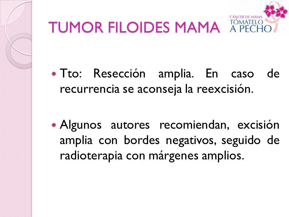 TUMOR FILOIDES MAMA Tto: Resección amplia. En caso de recurrencia se aconseja la reexcisión. Algunos autores recomiendan, excisión amplia con bordes n