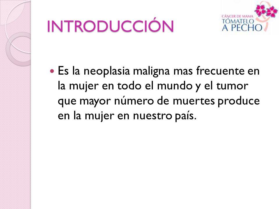 INTRODUCCIÓN Es la neoplasia maligna mas frecuente en la mujer en todo el mundo y el tumor que mayor número de muertes produce en la mujer en nuestro