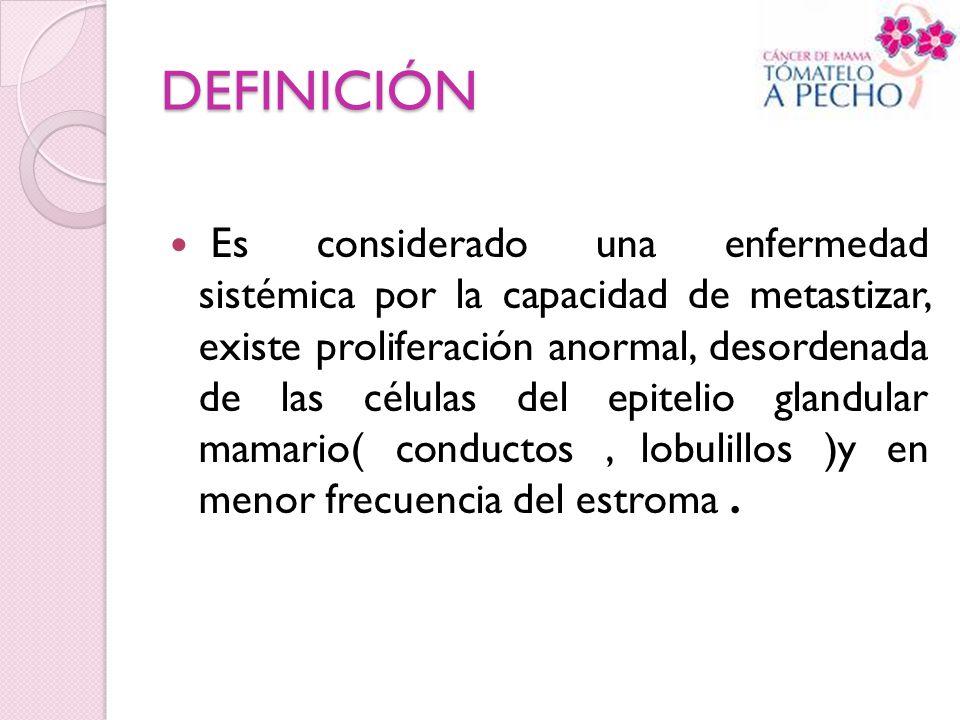 DEFINICIÓN Es considerado una enfermedad sistémica por la capacidad de metastizar, existe proliferación anormal, desordenada de las células del epitel