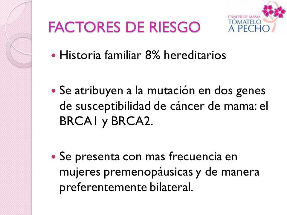 FACTORES DE RIESGO Historia familiar 8% hereditarios Se atribuyen a la mutación en dos genes de susceptibilidad de cáncer de mama: el BRCA1 y BRCA2. S