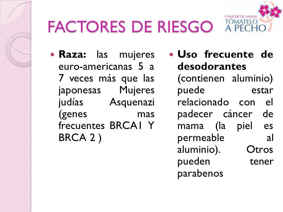 FACTORES DE RIESGO Raza: las mujeres euro-americanas 5 a 7 veces más que las japonesas Mujeres judías Asquenazi (genes mas frecuentes BRCA1 Y BRCA 2 )