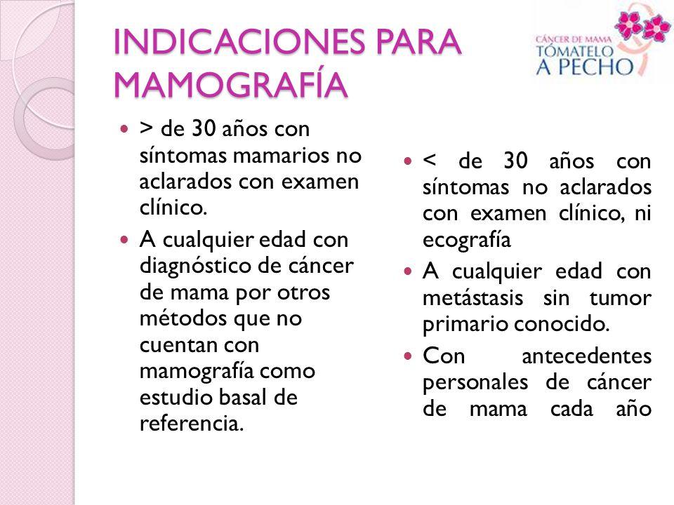 INDICACIONES PARA MAMOGRAFÍA > de 30 años con síntomas mamarios no aclarados con examen clínico. A cualquier edad con diagnóstico de cáncer de mama po