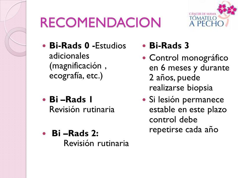 RECOMENDACION Bi-Rads 0 -Estudios adicionales (magnificación, ecografía, etc.) Bi –Rads 1 Revisión rutinaria Bi –Rads 2: Revisión rutinaria Bi-Rads 3