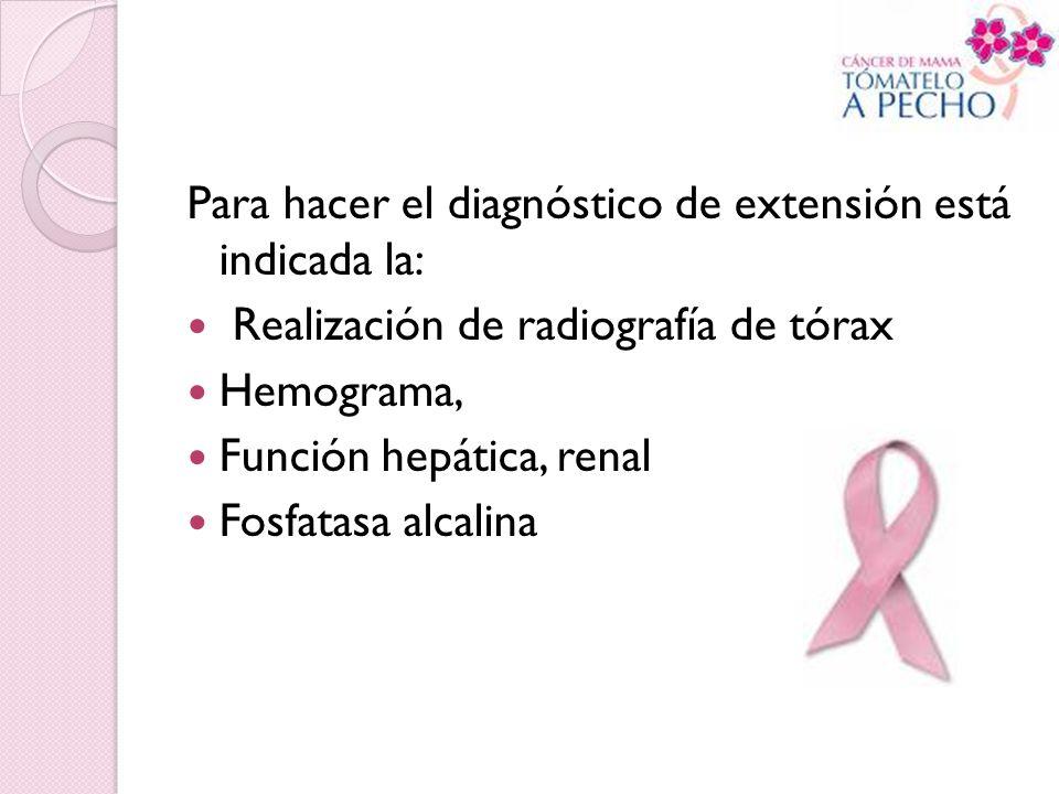 Para hacer el diagnóstico de extensión está indicada la: Realización de radiografía de tórax Hemograma, Función hepática, renal Fosfatasa alcalina