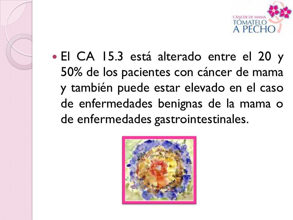 El CA 15.3 está alterado entre el 20 y 50% de los pacientes con cáncer de mama y también puede estar elevado en el caso de enfermedades benignas de la
