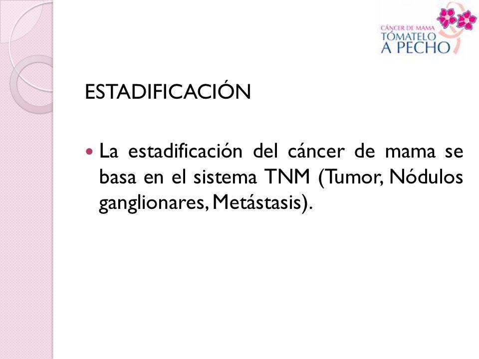ESTADIFICACIÓN La estadificación del cáncer de mama se basa en el sistema TNM (Tumor, Nódulos ganglionares, Metástasis).