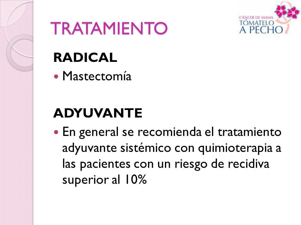 TRATAMIENTO RADICAL Mastectomía ADYUVANTE En general se recomienda el tratamiento adyuvante sistémico con quimioterapia a las pacientes con un riesgo