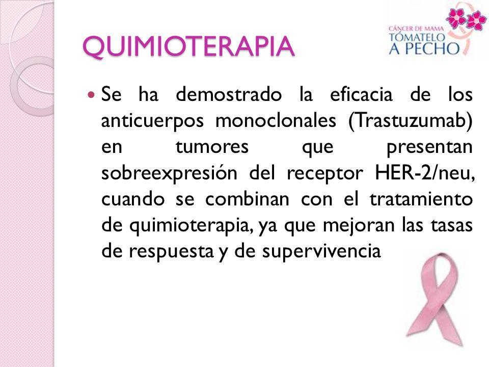 QUIMIOTERAPIA Se ha demostrado la eficacia de los anticuerpos monoclonales (Trastuzumab) en tumores que presentan sobreexpresión del receptor HER-2/ne