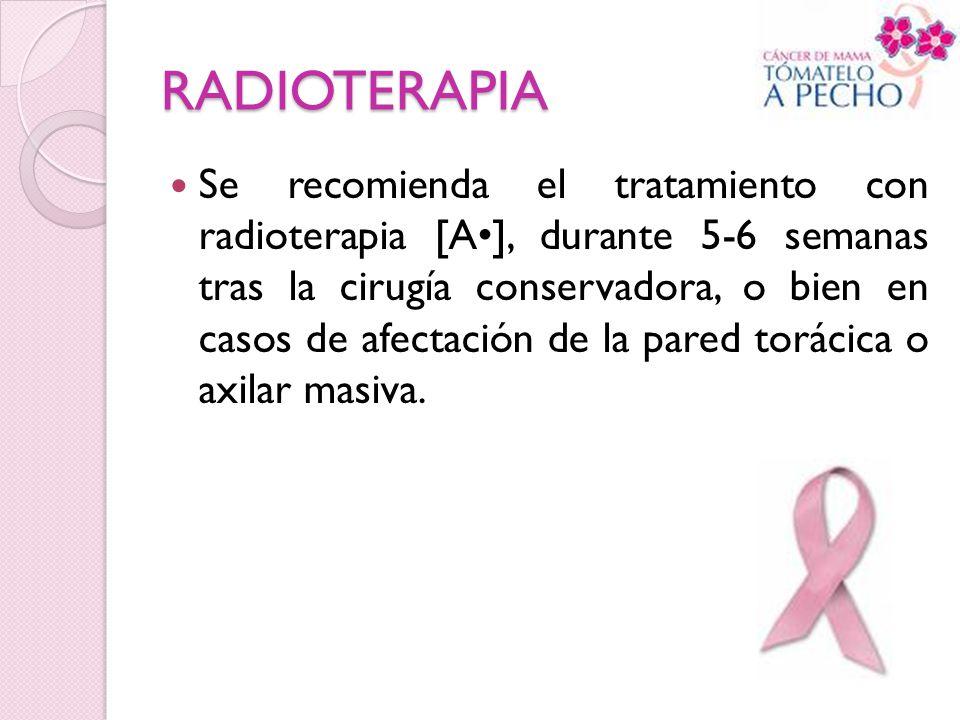 RADIOTERAPIA Se recomienda el tratamiento con radioterapia [A], durante 5-6 semanas tras la cirugía conservadora, o bien en casos de afectación de la
