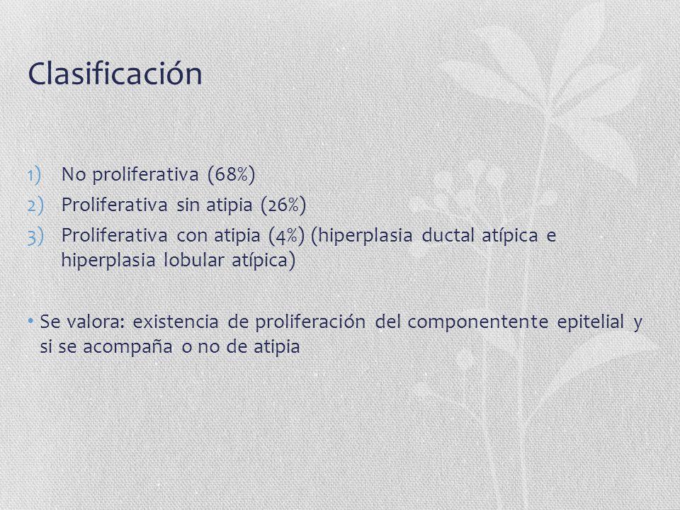 Clasificación 1)No proliferativa (68%) 2)Proliferativa sin atipia (26%) 3)Proliferativa con atipia (4%) (hiperplasia ductal atípica e hiperplasia lobu