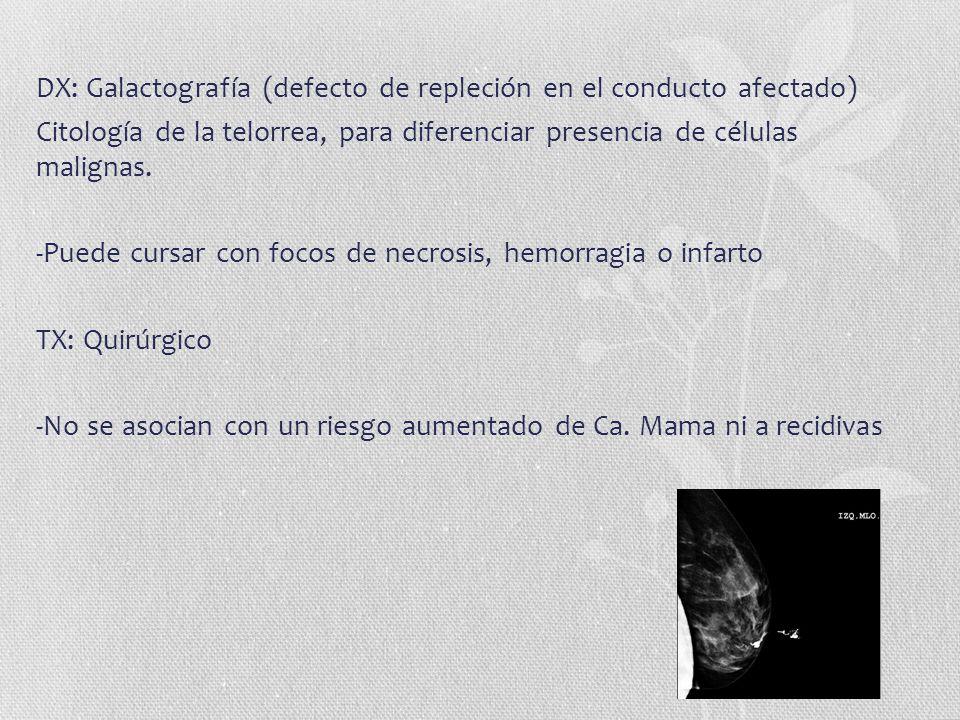 DX: Galactografía (defecto de repleción en el conducto afectado) Citología de la telorrea, para diferenciar presencia de células malignas. -Puede curs