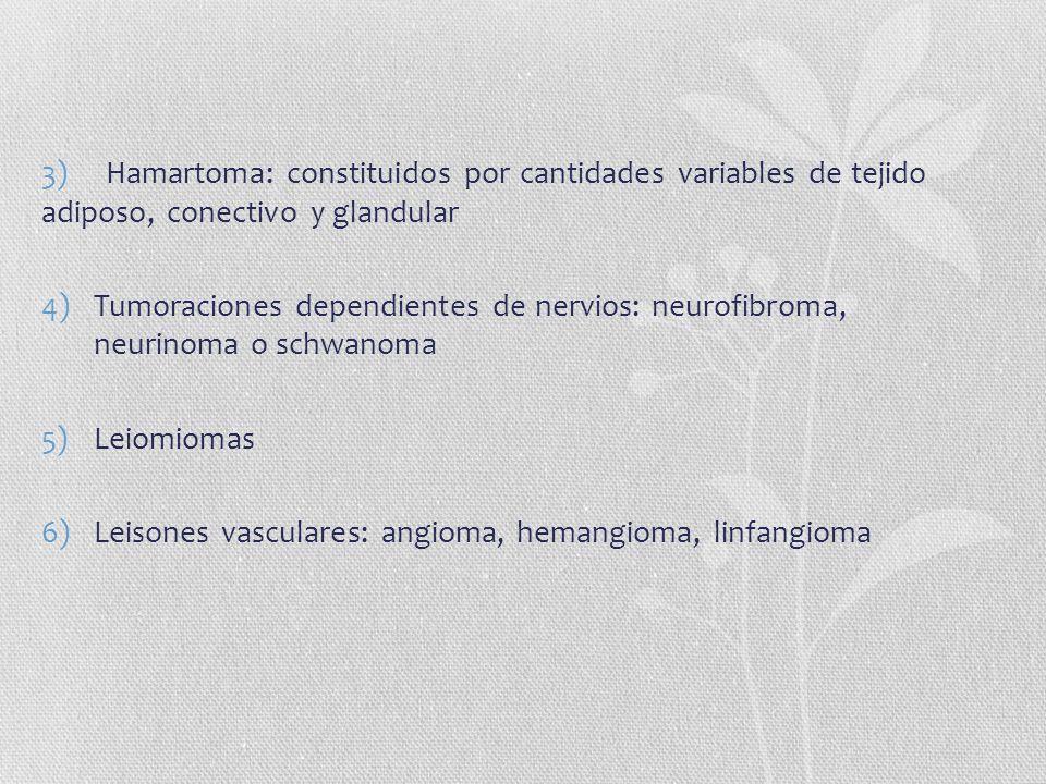 3) Hamartoma: constituidos por cantidades variables de tejido adiposo, conectivo y glandular 4)Tumoraciones dependientes de nervios: neurofibroma, neu