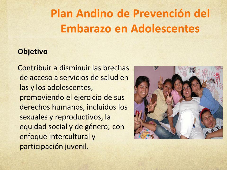 Plan Andino de Prevención del Embarazo en Adolescentes Objetivo Contribuir a disminuir las brechas de acceso a servicios de salud en las y los adolesc