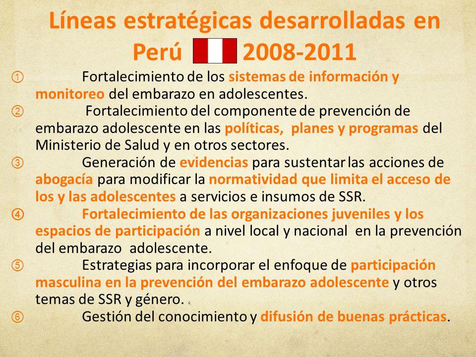 Líneas estratégicas desarrolladas en Perú 2008-2011 Fortalecimiento de los sistemas de información y monitoreo del embarazo en adolescentes. Fortaleci