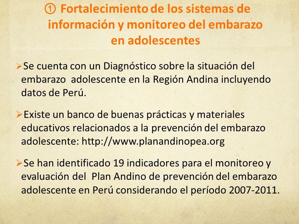 Fortalecimiento de los sistemas de información y monitoreo del embarazo en adolescentes Se cuenta con un Diagnóstico sobre la situación del embarazo a