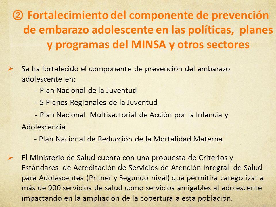 Fortalecimiento del componente de prevención de embarazo adolescente en las políticas, planes y programas del MINSA y otros sectores Se ha fortalecido