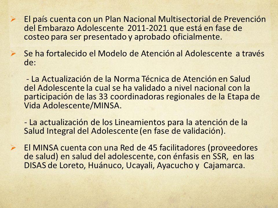 El país cuenta con un Plan Nacional Multisectorial de Prevención del Embarazo Adolescente 2011-2021 que está en fase de costeo para ser presentado y a