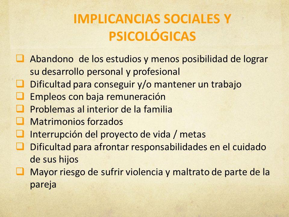 IMPLICANCIAS SOCIALES Y PSICOLÓGICAS Abandono de los estudios y menos posibilidad de lograr su desarrollo personal y profesional Dificultad para conse