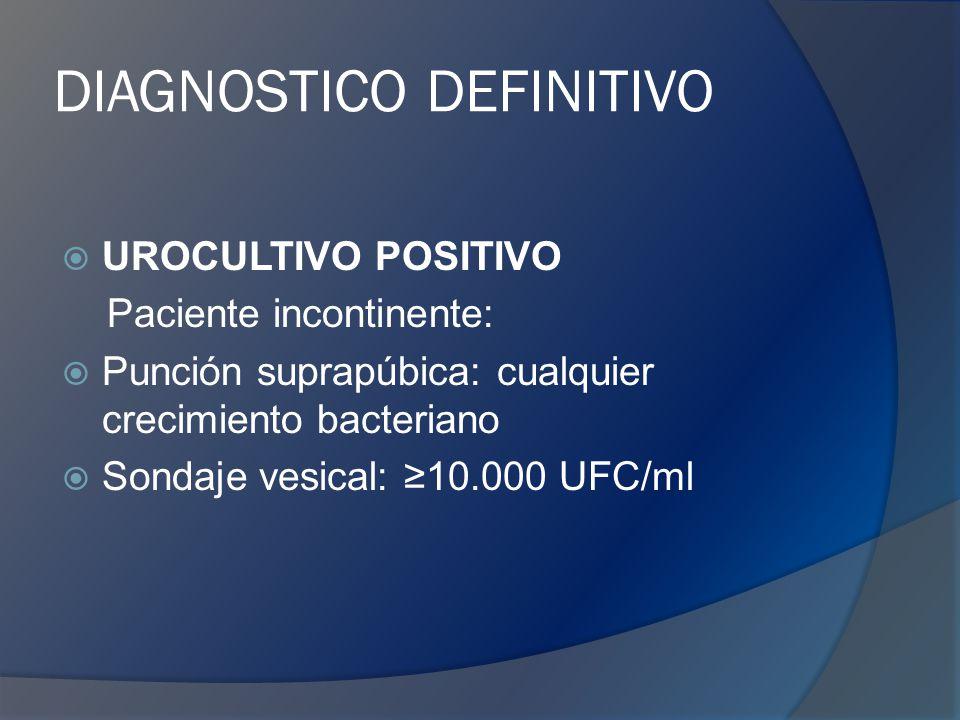 DIAGNOSTICO DEFINITIVO UROCULTIVO POSITIVO Paciente incontinente: Punción suprapúbica: cualquier crecimiento bacteriano Sondaje vesical: 10.000 UFC/ml
