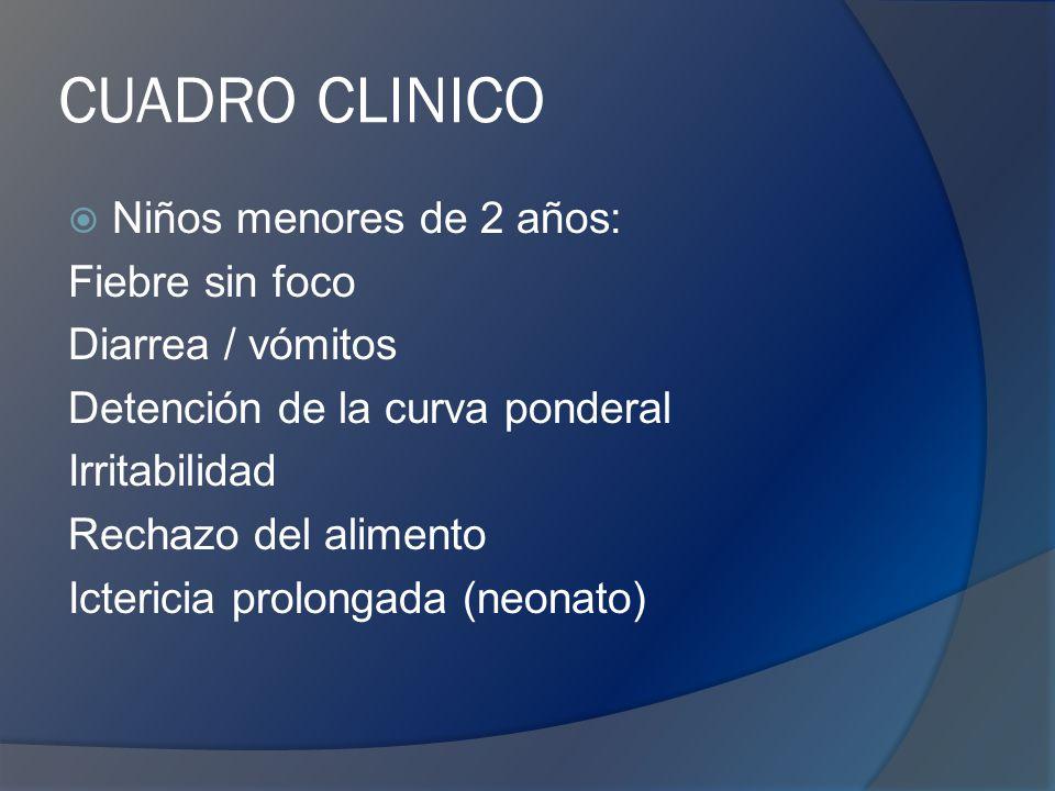CUADRO CLINICO Niños mayores de 2 años: Polaquiuria Urgencia miccional Orina maloliente Vómitos Dolor abdominal Fiebre elevada (>38ºC), escalofríos Dolor lumbar o en flanco