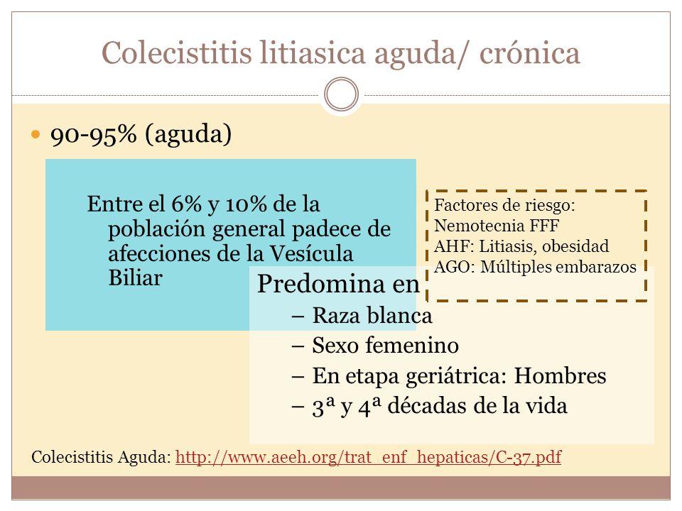 Colecistitis Aguda: http://www.aeeh.org/trat_enf_hepaticas/C-37.pdfhttp://www.aeeh.org/trat_enf_hepaticas/C-37.pdf Colecistitis litiasica aguda/ cróni