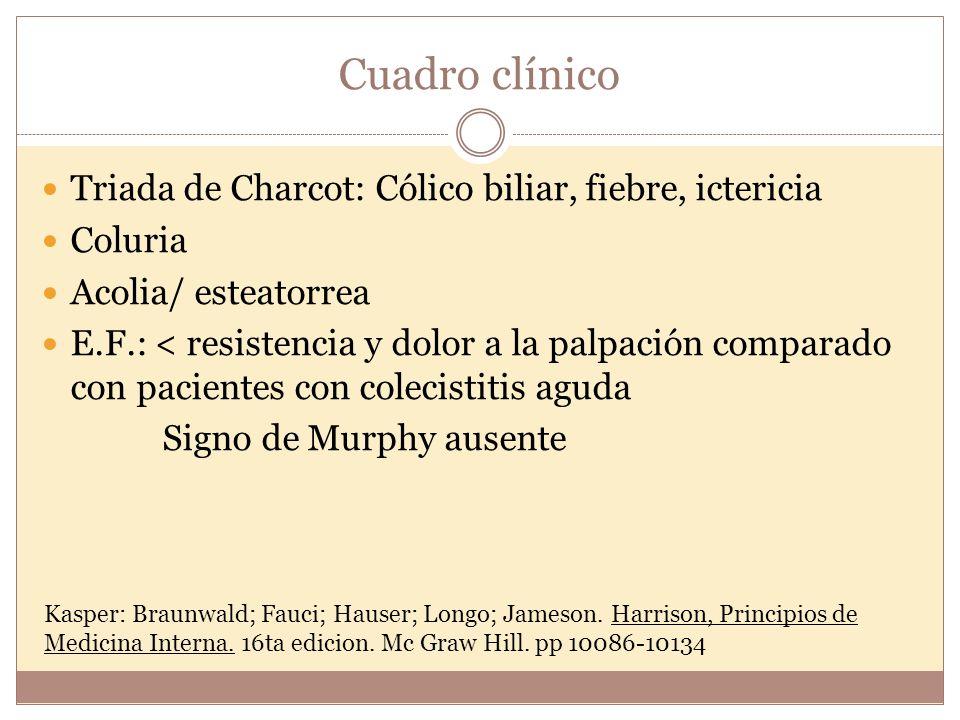 Cuadro clínico Triada de Charcot: Cólico biliar, fiebre, ictericia Coluria Acolia/ esteatorrea E.F.: < resistencia y dolor a la palpación comparado co