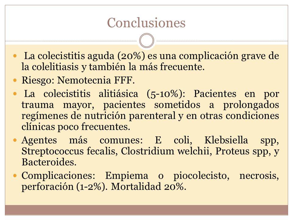 Conclusiones La colecistitis aguda (20%) es una complicación grave de la colelitiasis y también la más frecuente. Riesgo: Nemotecnia FFF. La colecisti