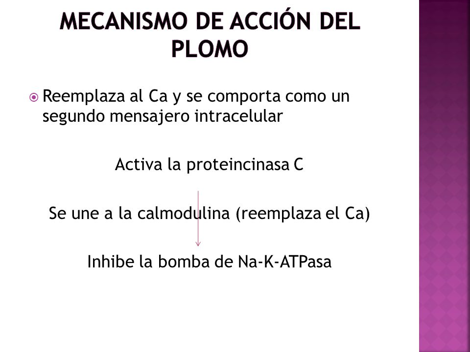 Reemplaza al Ca y se comporta como un segundo mensajero intracelular Activa la proteincinasa C Se une a la calmodulina (reemplaza el Ca) Inhibe la bom