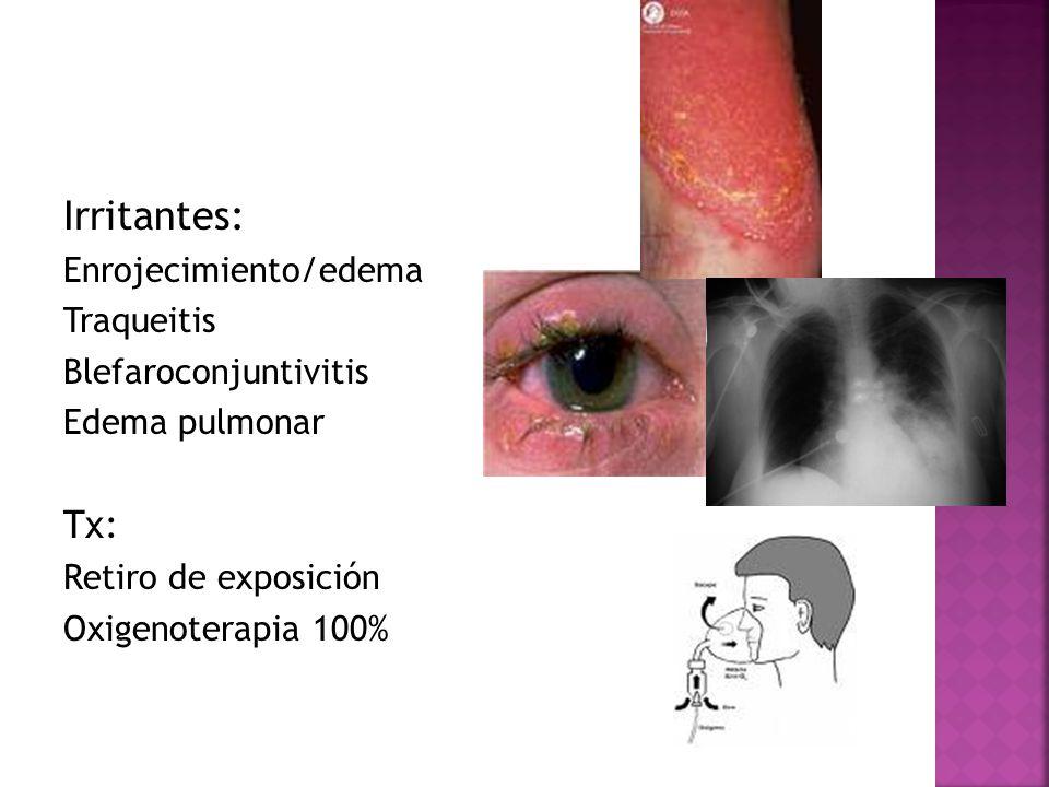 Irritantes: Enrojecimiento/edema Traqueitis Blefaroconjuntivitis Edema pulmonar Tx: Retiro de exposición Oxigenoterapia 100%