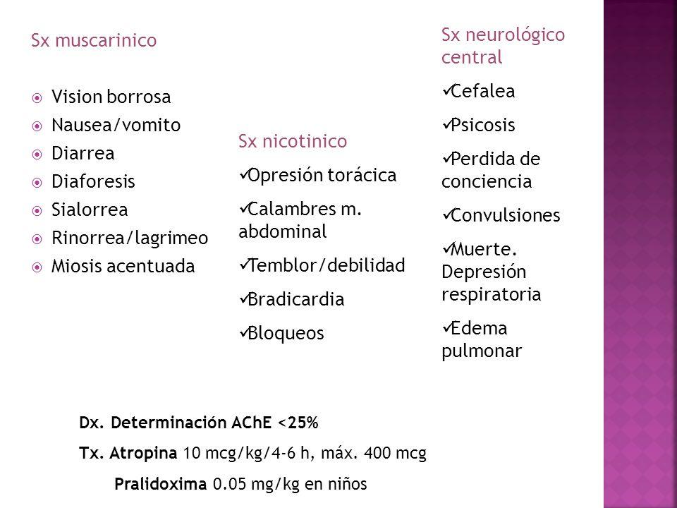 Sx muscarinico Vision borrosa Nausea/vomito Diarrea Diaforesis Sialorrea Rinorrea/lagrimeo Miosis acentuada Sx nicotinico Opresión torácica Calambres