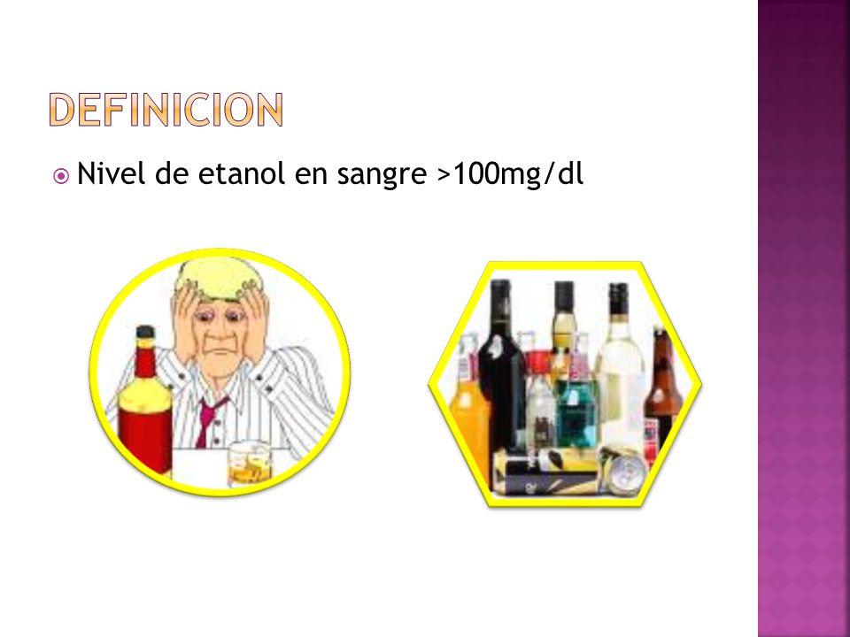 Nivel de etanol en sangre >100mg/dl