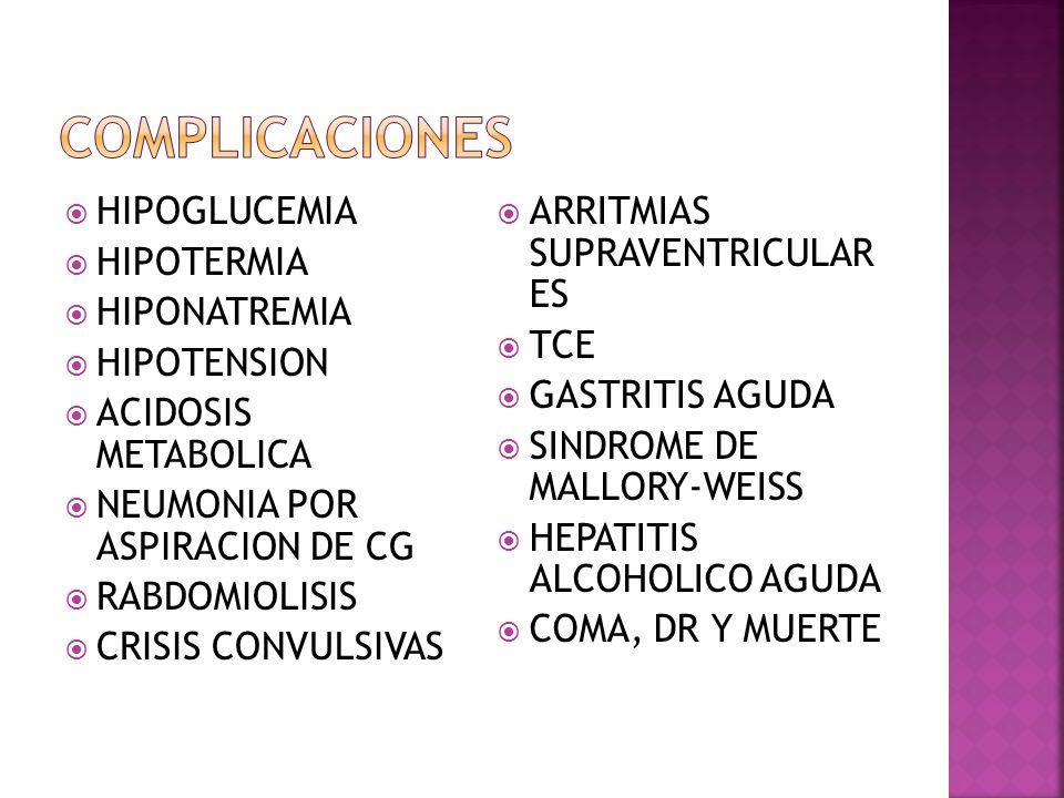 HIPOGLUCEMIA HIPOTERMIA HIPONATREMIA HIPOTENSION ACIDOSIS METABOLICA NEUMONIA POR ASPIRACION DE CG RABDOMIOLISIS CRISIS CONVULSIVAS ARRITMIAS SUPRAVEN