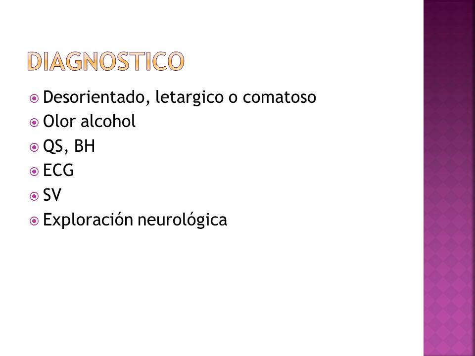 Desorientado, letargico o comatoso Olor alcohol QS, BH ECG SV Exploración neurológica
