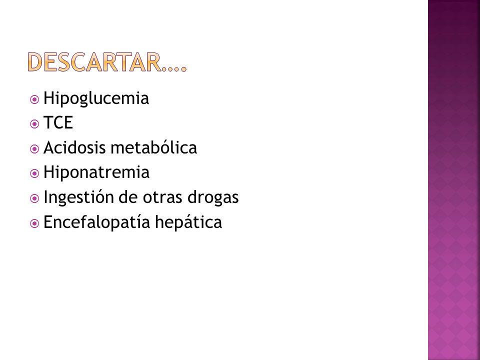Hipoglucemia TCE Acidosis metabólica Hiponatremia Ingestión de otras drogas Encefalopatía hepática