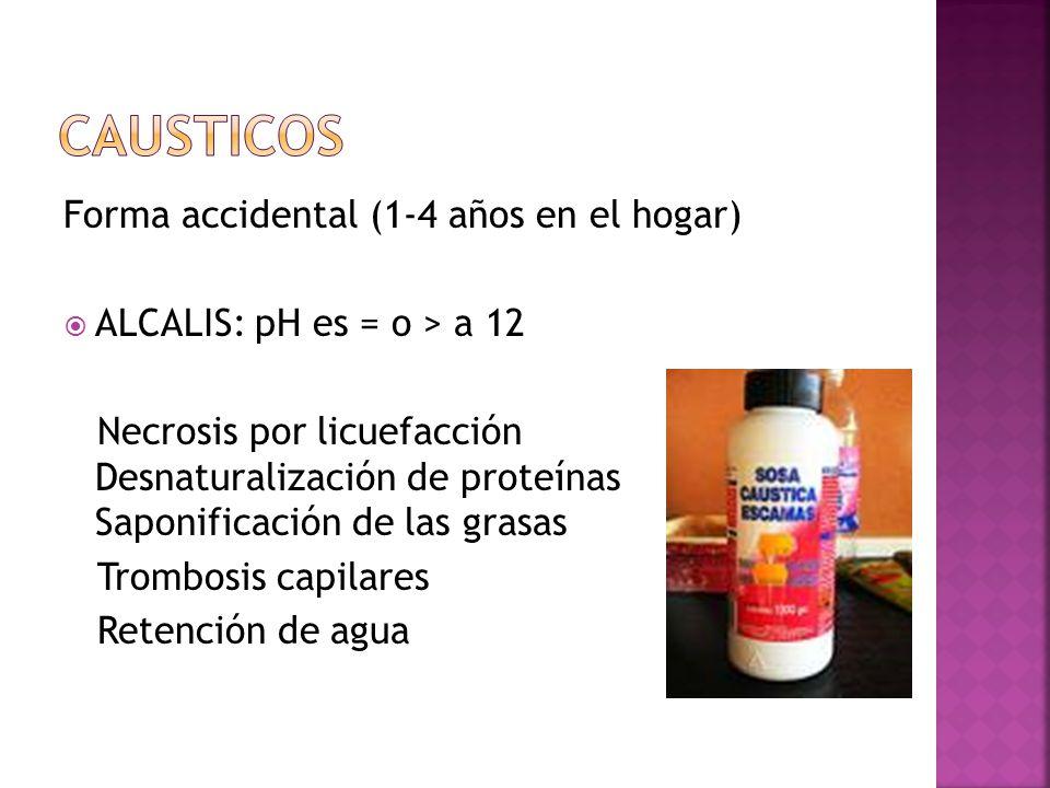 Forma accidental (1-4 años en el hogar) ALCALIS: pH es = o > a 12 Necrosis por licuefacción Desnaturalización de proteínas Saponificación de las grasa